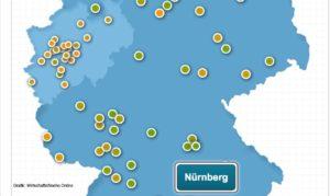 Ausschnitt Deutschlandkarte Städteranking mit Hervorhebung Nürnberg