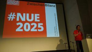 Präsentation #NUE2025 Zwischen-Ergebnisse und Forderungen auf dem Creative Monday Nürnberg am 22. Juli 2019 (Foto aus dem Videomitschnitt zur Verlinkung auf Vimeo)