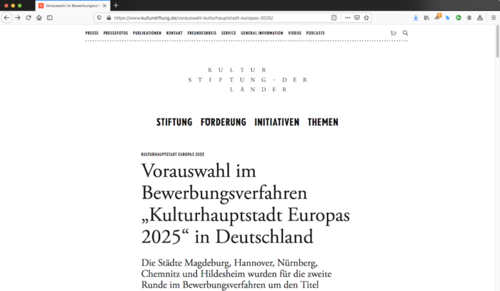Nürnberg ist in der 2. Bewerbungsrunde.